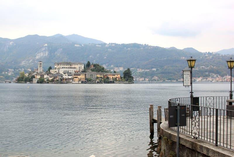 San Giulio Island in Lake Orta, Italy royalty free stock photography