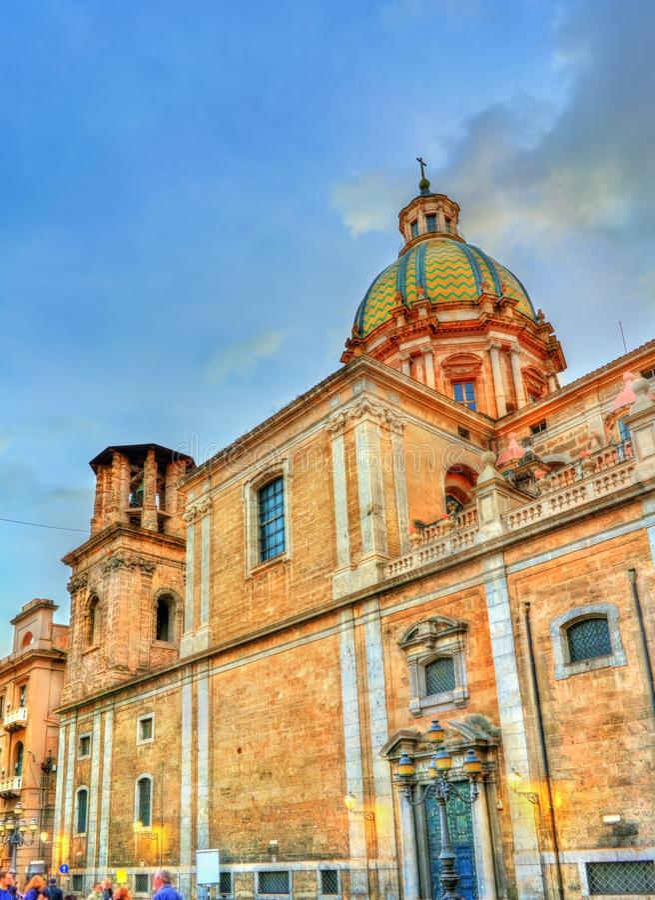 San Giuseppe deiTeatini kyrka i Palermo, Italien arkivbilder