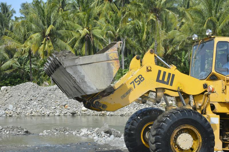 Sand and Gravel Screening at Mal river, Matanao, Davao del Sur, Philippines. This photo shows the Sand and Gravel screening at Mal river, Matanao, Davao del Sur stock image