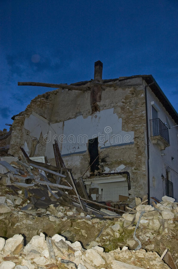 San Gregorio. One year later after the earthquake in italy. San Gregorio is a small village next to L'Aquila and the ruins are still there after almost 12 months royalty free stock photography