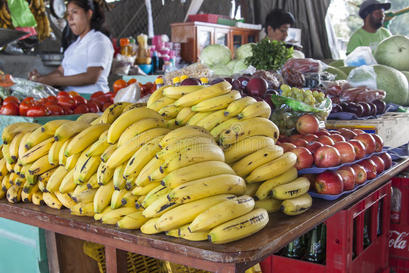 San Ignacio market selling fruits and vegetables stock photos