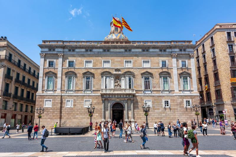 San Jaime ajusta a Placa de Sant Jaime en el centro del cuarto gótico, Barcelona, España imagen de archivo libre de regalías