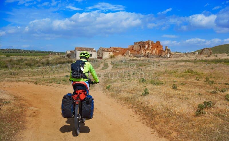 San James Way di Mancha della La del pellegrino del motociclista fotografia stock libera da diritti