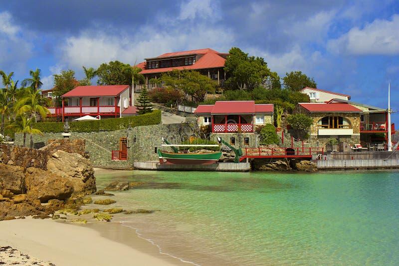 San Jean strand i St Barths som är karibisk arkivfoto