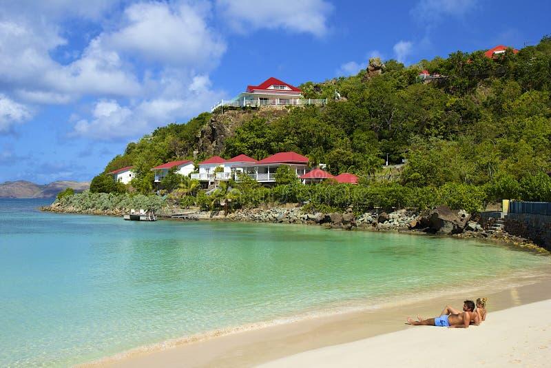 San Jean strand i St Barths som är karibisk arkivfoton