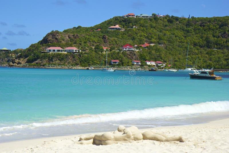San Jean strand i St Barths som är karibisk royaltyfri bild