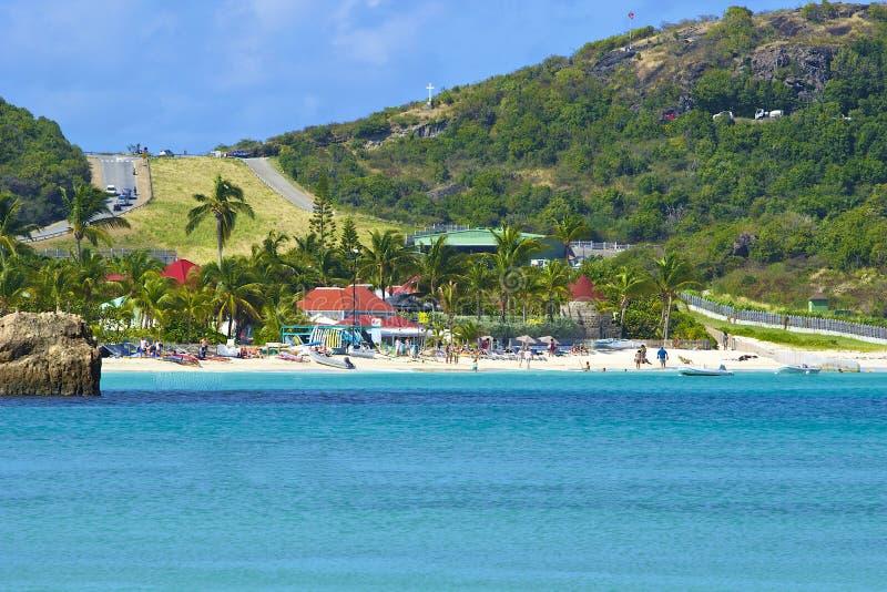 San Jean strand och flygplats i St Barths som är karibisk arkivbild