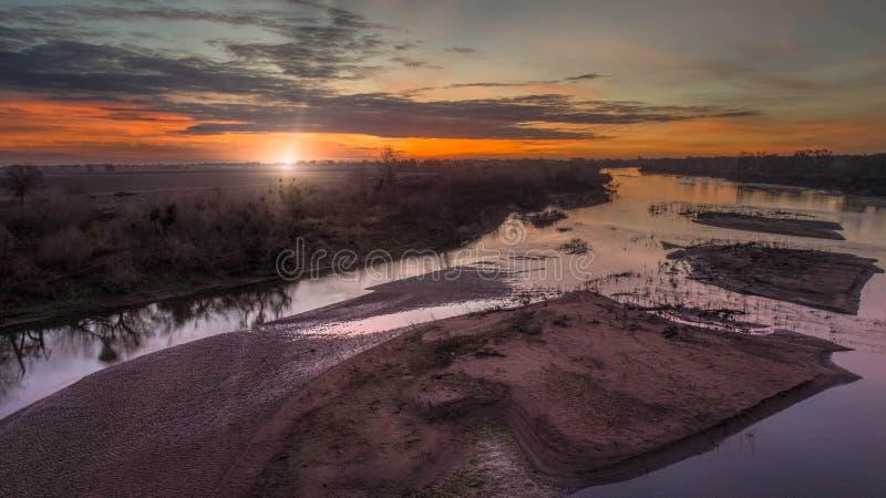 San Joaquin River Sunrise arkivfoton
