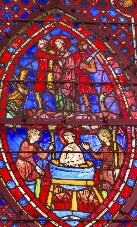 San John Boiling Stained Glass Sainte Chapelle Paris France immagine stock
