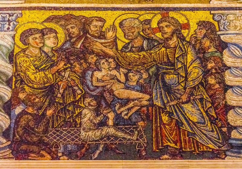 San John Florence Italy di Jesus Healing Sick Mosaic Dome Bapistry fotografia stock libera da diritti