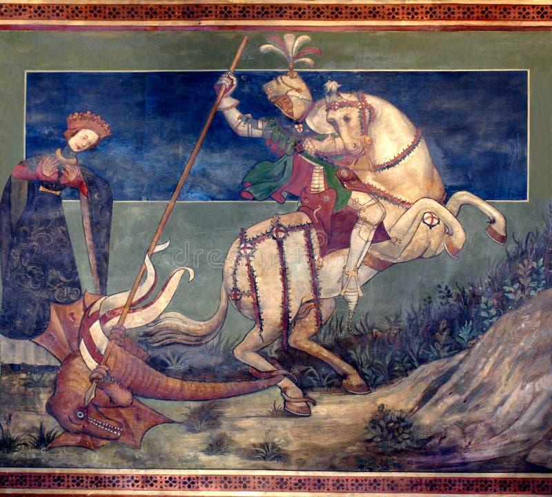 San Jorge que mata el drake stock de ilustración