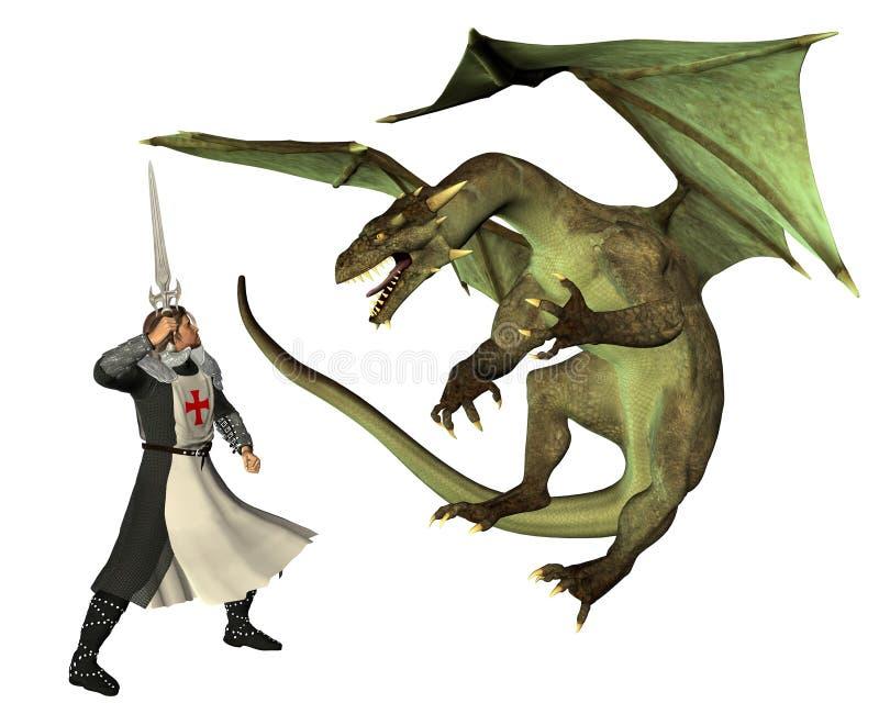 San Jorge y el dragón ilustración del vector