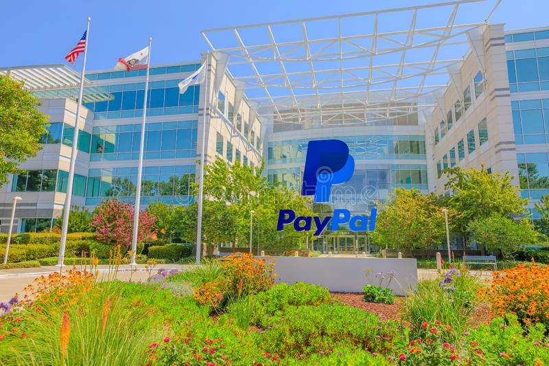 Paypal flags San Jose California. San Jose, CA, United States - August 12, 2018: flags of Paypal Headquarters in Silicon Valley. Paypal is a multinational stock photo