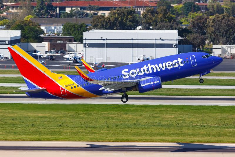 Southwest Airlines Boeing 737-700 airplane San Jose airport. San Jose, California – April 10, 2019: Southwest Airlines Boeing 737-700 airplane at San Jose stock photo