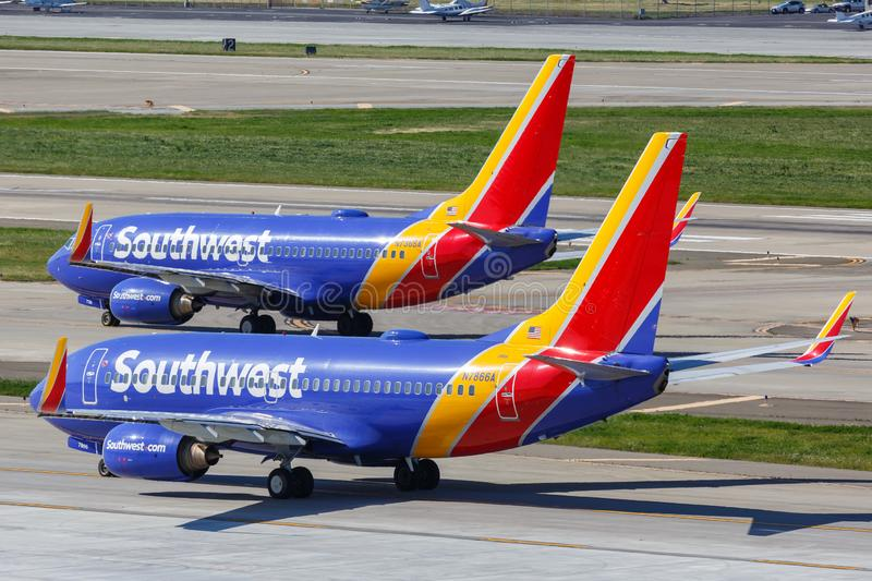 Southwest Airlines Boeing 737-700 airplanes San Jose airport. San Jose, California – April 10, 2019: Southwest Airlines Boeing 737-700 airplanes at San royalty free stock photos