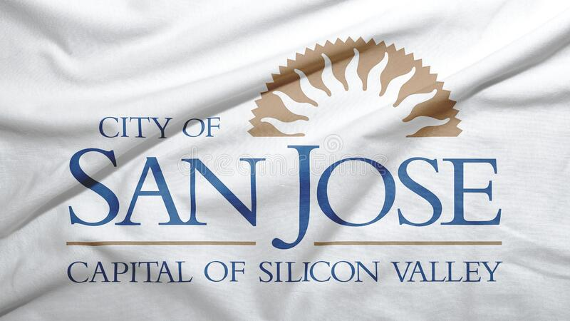 San Jose of California of United States flag background. San Jose of California of United States flag on the fabric texture background royalty free stock photos