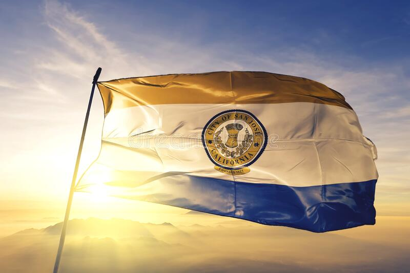 San Jose of California of United States flag waving on the top. San Jose of California of United States flag waving royalty free stock photography
