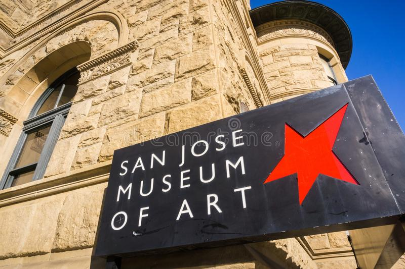 San Jose, California / USA - December 6, 2017 - San Jose Museum of Art logo in downtown San Jose, San Francisco bay, California stock photography