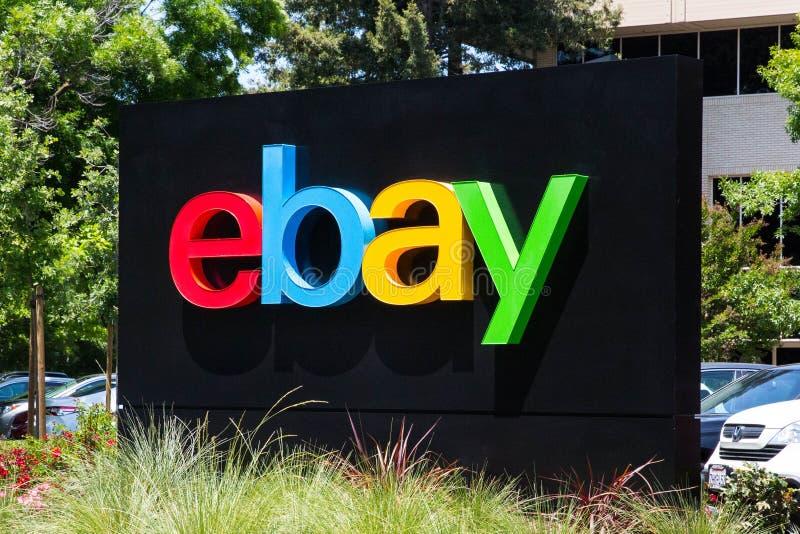 San Jose, California, USA - May 21, 2018: eBay`s headquarters campus, Welcome center named Main Street. eBay Inc is a global e-com stock photography