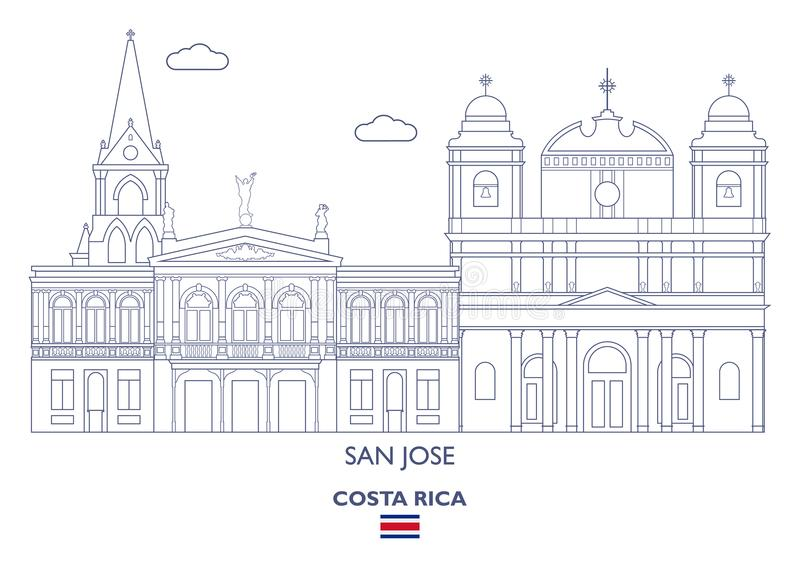 San Jose City Skyline, Costa Rica libre illustration