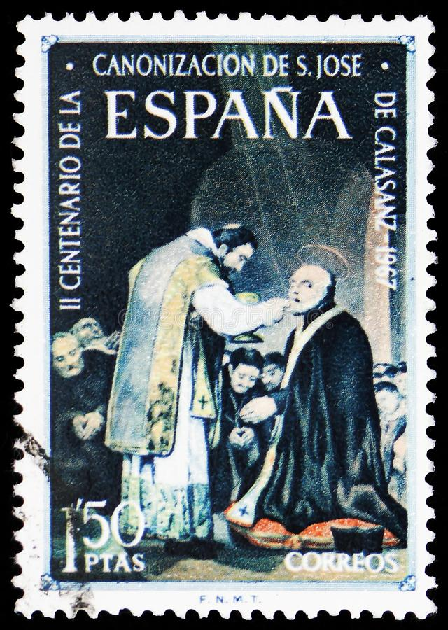 San Jose de Calasanz, Sainthood serie, circa 1967. MOSCOW, RUSSIA - MAY 25, 2019: Postage stamp printed in Spain shows San Jose de Calasanz, Sainthood serie stock images