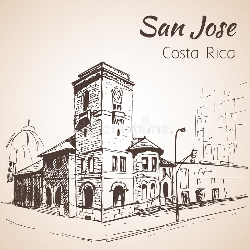 San Jose downtown hand drawn cityscape. Costa Rica. Sketch. Isolated on white background stock illustration