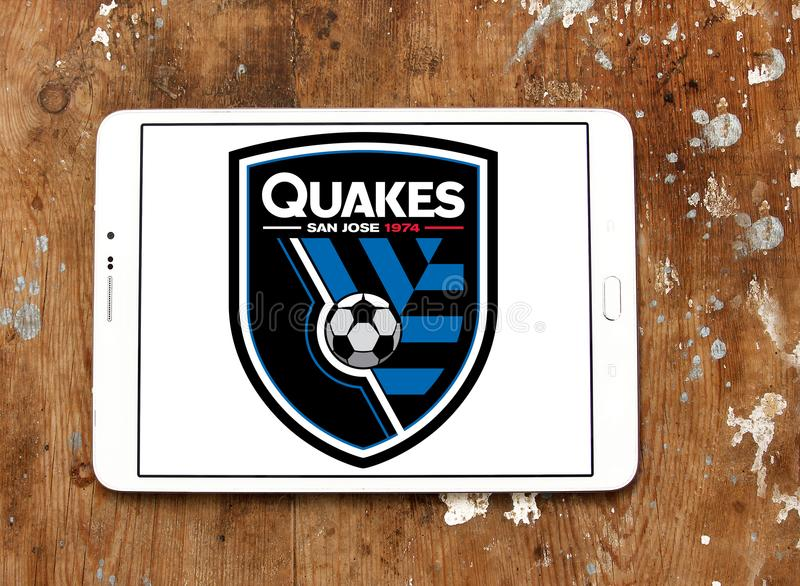San Jose Earthquakes Soccer Club logo. Logo of San Jose Earthquakes Soccer Club on samsung tablet . San Jose Earthquakes are an American professional soccer team royalty free stock images