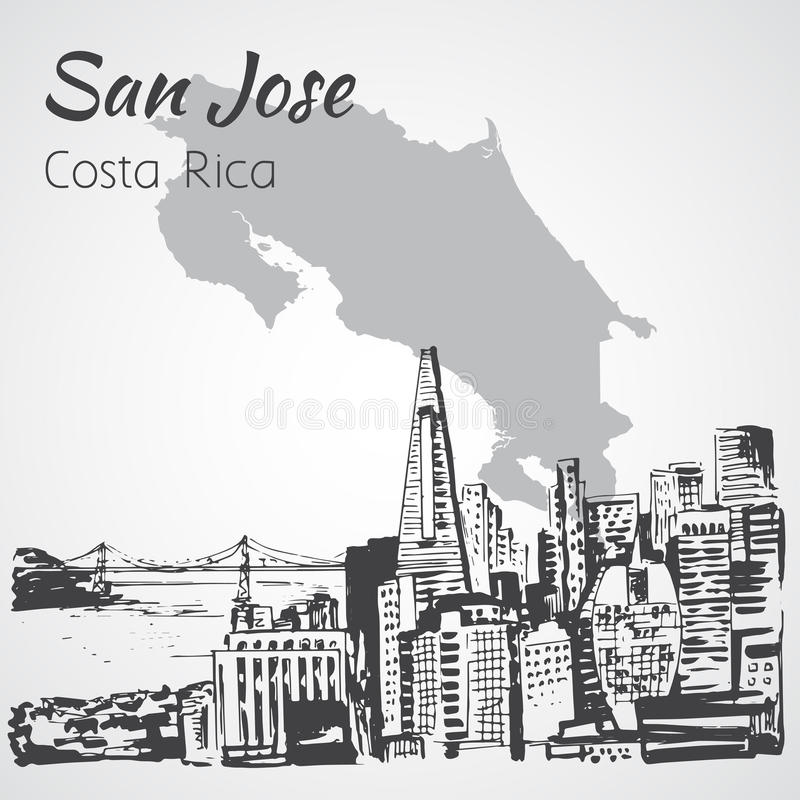 San Jose hand dragen cityscape Costa Rica skissa royaltyfri illustrationer