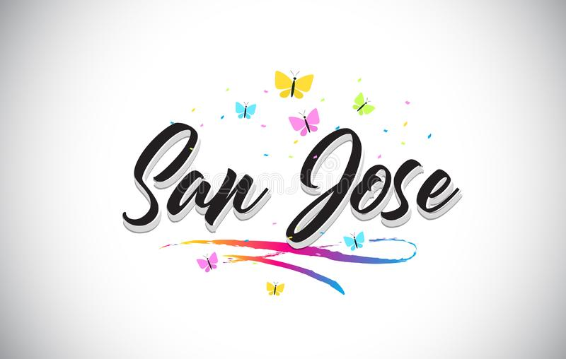 San Jose Handwritten Vector Word Text con le farfalle e variopinto mormora illustrazione di stock