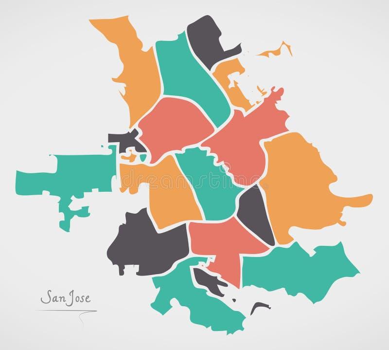 San Jose Kalifornia mapa z podgrodziami i nowożytnymi round kształtami ilustracji