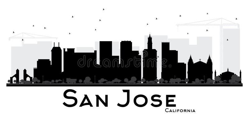 San Jose Kalifornia miasta linii horyzontu czarny i biały sylwetka ilustracji