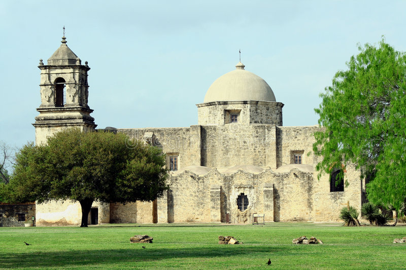 San Jose Mission. This is a view of the San Jose Mission in San Antonio, Texas. This mission is part of the National Historical Park system royalty free stock image