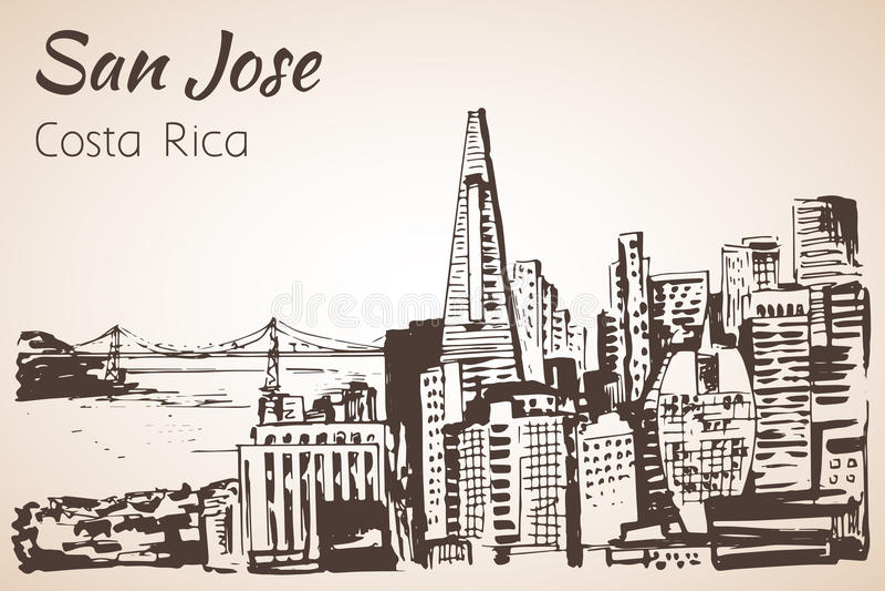 San Jose ręka rysujący pejzaż miejski Costa Rica nakreślenie royalty ilustracja