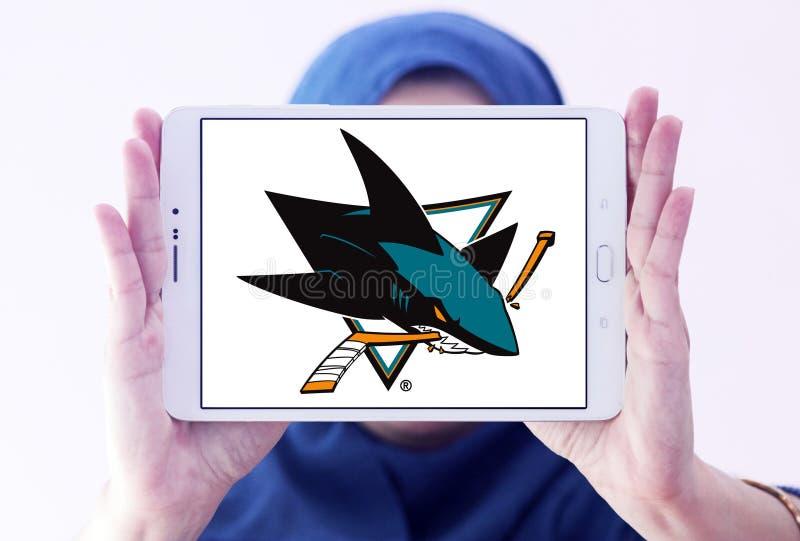 San Jose Sharks ice hockey team logo. Logo of San Jose Sharks ice hockey team on samsung tablet holded by arab muslim woman. The San Jose Sharks are a stock photography