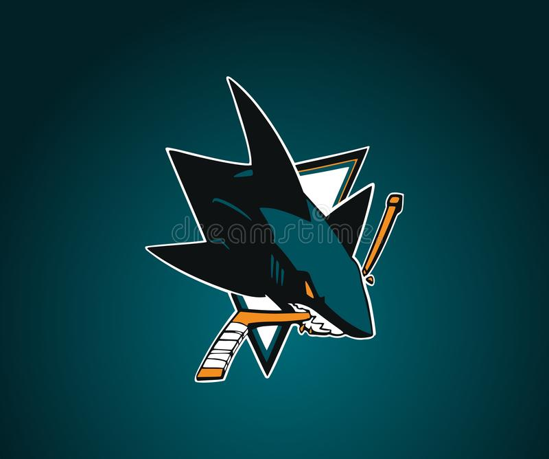 San Jose Sharks vector logo.NHL.Blue-green background with shark. vector illustration