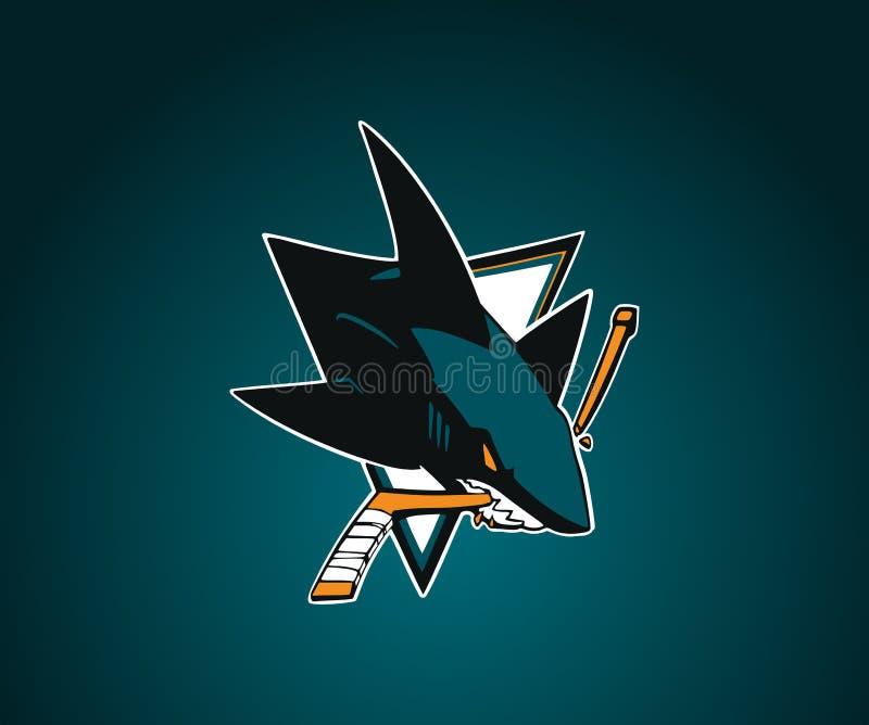 San Jose Sharks vektorlogo nhl Bl?tt-gr?splan bakgrund med hajen vektor illustrationer