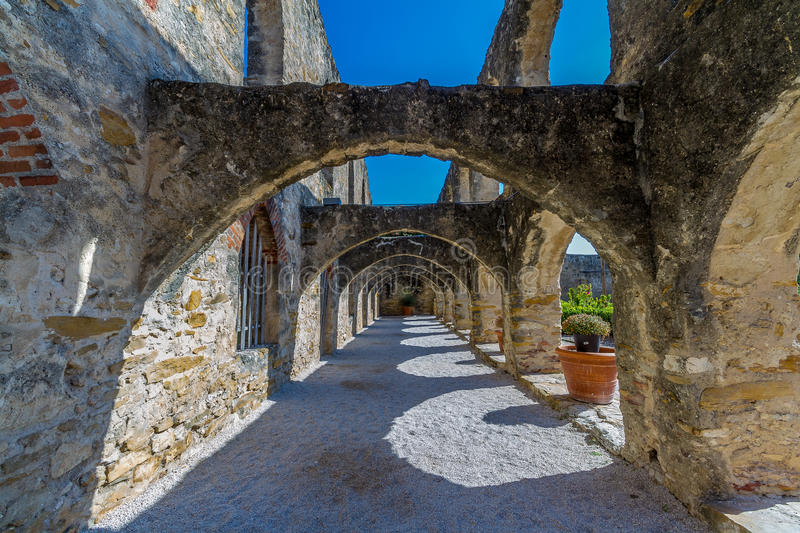 San Jose Spanish Mission, TX. Arched Walkway at the Historic Old West Spanish Mission San Jose, Founded in 1720, San Antonio, Texas, USA stock images