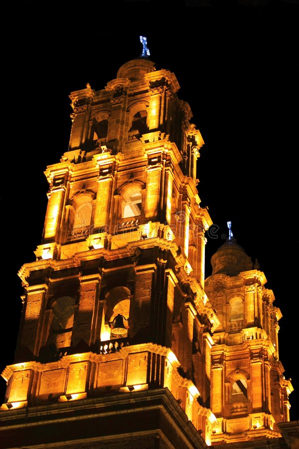 San Jose Temple. Night view of the Bell Towers of the San Jose Temple in Morelia Michoacan, Mexico stock photos