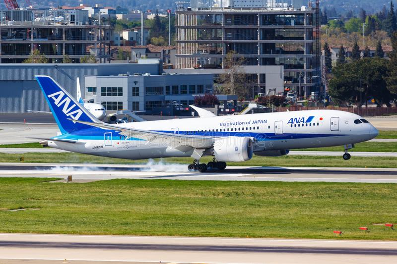 ANA All Nippon Airways Boeing 787-8 Dreamliner airplane San Jose airport. San Jose, United States – April 10, 2019: ANA All Nippon Airways Boeing 787-8 royalty free stock photo