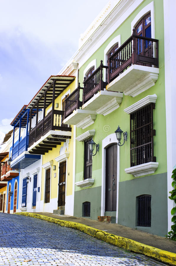 San juan. Street, colorful houses in old town, puerto rico royalty free stock image
