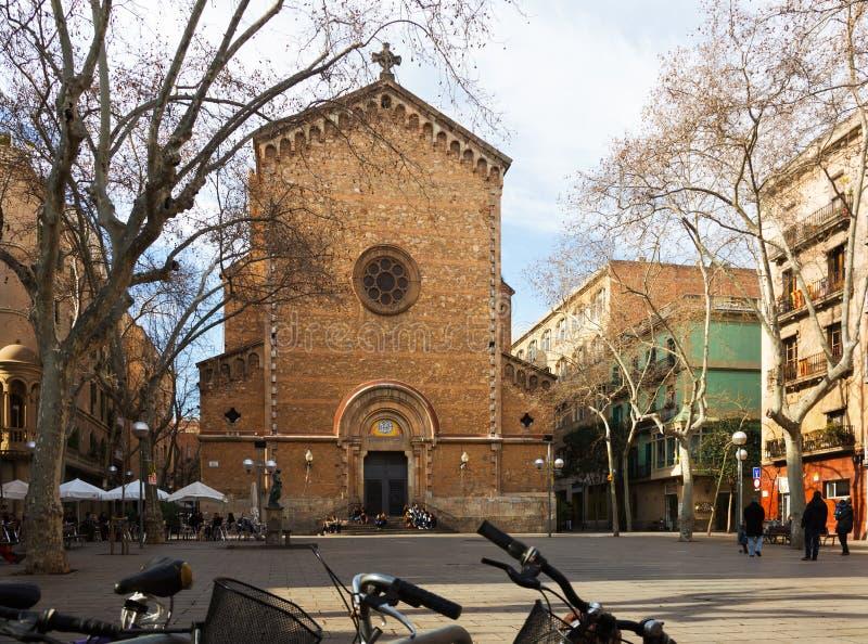 San Juan Baptist de Gracia Church i Barcelona royaltyfri bild
