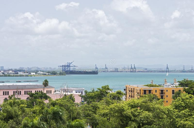 San Juan Bay and Port Terminals. View across san juan bay and port terminals from old san juan puerto rico royalty free stock photos