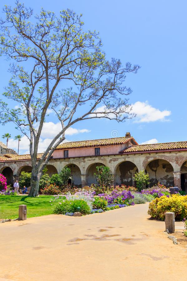 San Juan Capistrano. USA - MAY 09, 2011: The Spanish Mission in , California, USA with visitors. It was founded on 1776, by Spanish Catholics of the Franciscan royalty free stock photography