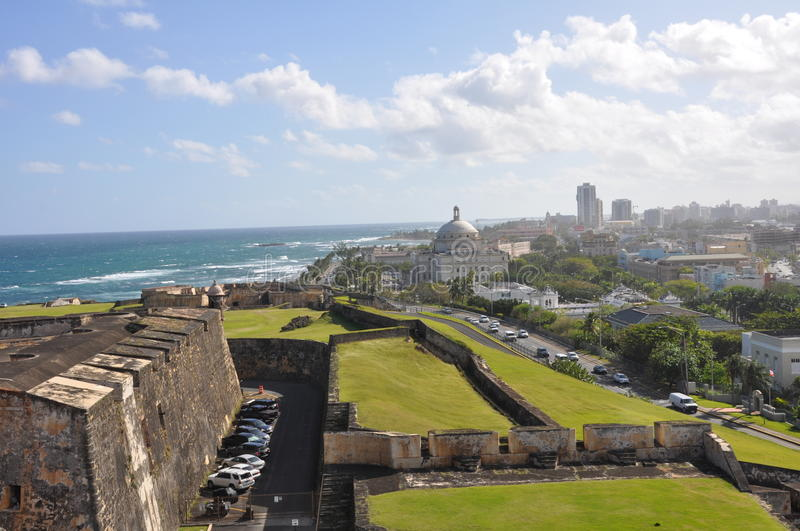 San Juan from Castillo de San Cristobal stock photography
