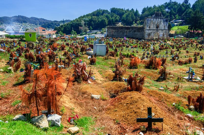 Cemetery & ruined church, San Juan Chamula, Mexico. San Juan Chamula, Mexico - March 25, 2015: Ruined church & cemetery in San Juan Chamula, an indigenous town royalty free stock images
