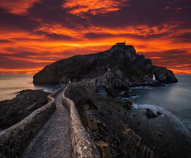 San Juan de Gaztelugatxe, Baskien, Spanien royaltyfria foton