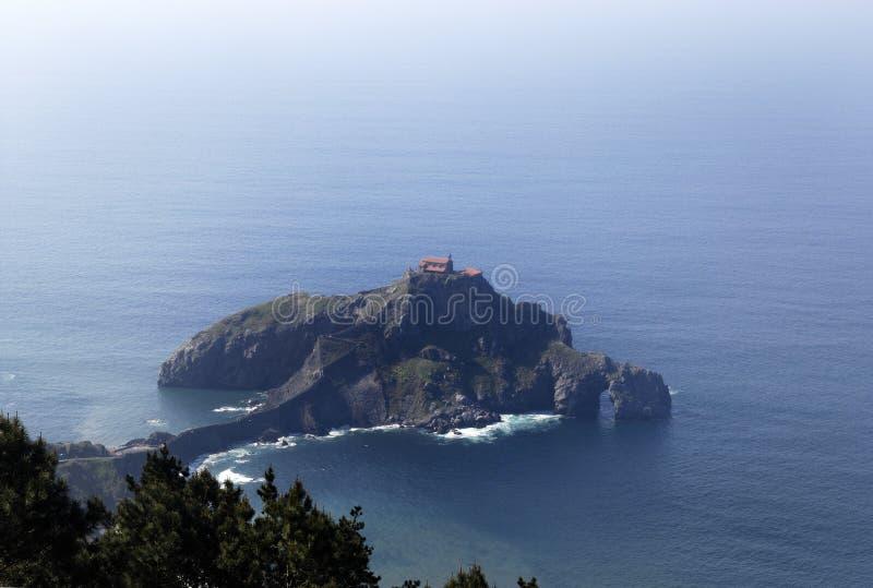 San Juan de Gaztelugatxe, Churc, Paese Basco, Spagna fotografia stock libera da diritti