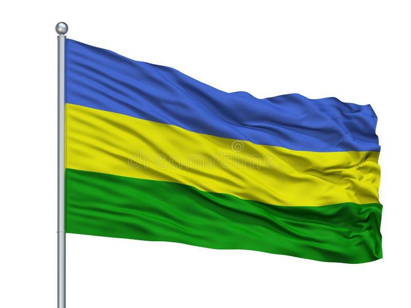 San Juan Del Cesar City Flag On Flagpole, Colombia, aislada en el fondo blanco libre illustration