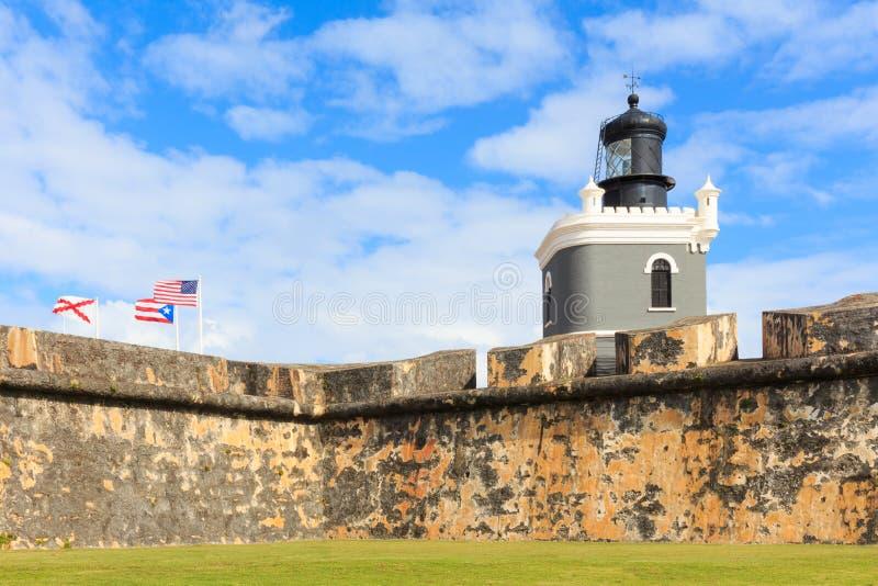San Juan, latarnia morska przy fortem San Felipe Del Morro, Puerto Rico obraz stock