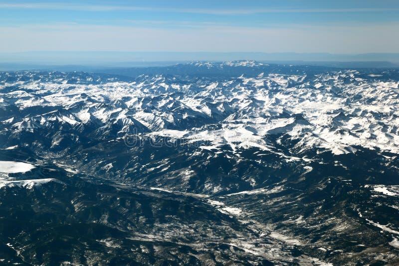 The San Juan mountains in the Colorado Rockies. Flying over the San Juan mountains covered in snow in winter in the Colorado rockies stock images